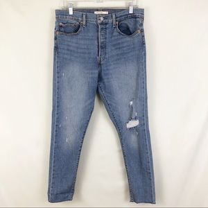 Levi Button Fly High Rise Wedgie Skinny Jean Sz 31